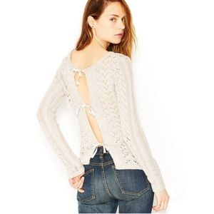 Free People Tie Back Chunky Knit Sweater